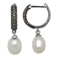 Freshwater Pearl and .32 ct. tw. Diamond Earrings in .925 Sterling Silver