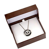 Onyx and White Sapphire Pendant in .925 Sterling Silver