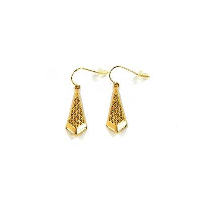 14 Karat Yellow Gold Mesh Kite Dangle Earrings