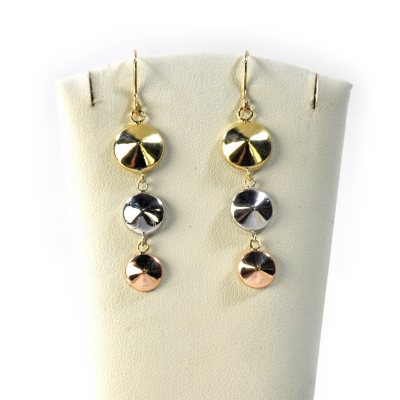 14K Tri-Color Round Dangle Gold Earrings.  Ends: Jul 28, 2015 7:10:00 PM CDT