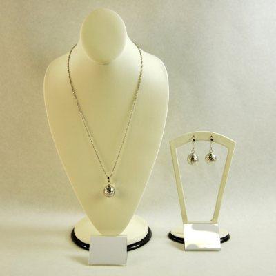 14K White Gold Diamond-Cut Necklace & Earring Set