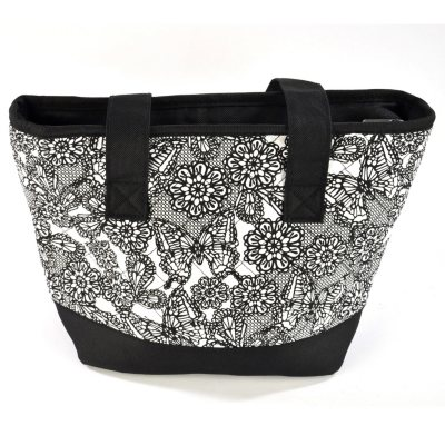 Fresh & Fit Quilted Lunch Tote with 2 pc. Food Storage, Black Butterfly Lace.  Ends: Oct 31, 2014 10:15:00 PM CDT