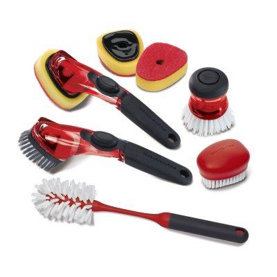 KitchenAid 7-Piece Sink Brush Set, Red