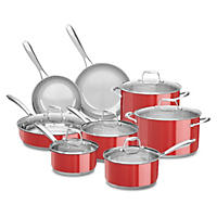 KitchenAid Stainless Steel Cookware Set, Red (14 pc.)