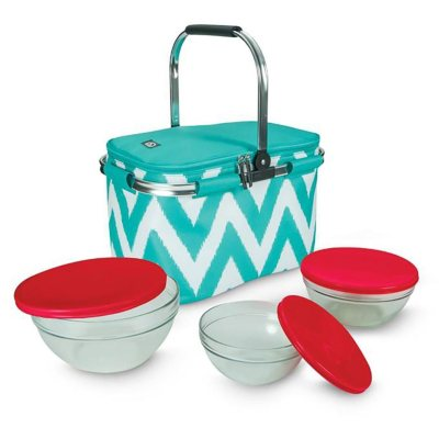 Igloo Party Basket with Luminarc Glassware Set, Teal Chevron (6 pc.).  Ends: Oct 9, 2015 8:40:00 PM CDT