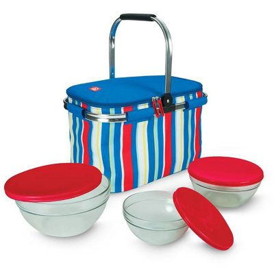 Igloo Party Basket with Luminarc Glassware Set, Blue Stripe (6 pc.).  Ends: Oct 9, 2015 8:25:00 PM CDT