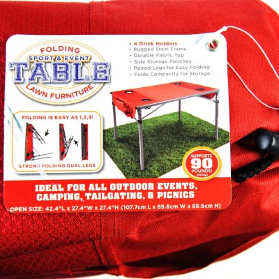 Folding Outdoor Table - Red.  Ends: Apr 17, 2014 7:30:00 PM CDT