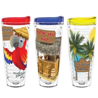 Margaritaville Tumblers 3-Pack, Red/Blue/Yellow.  Ends: Oct 9, 2015 8:40:00 PM CDT