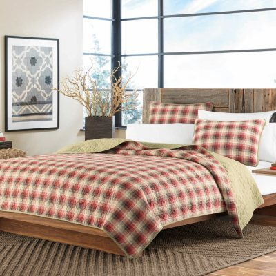 Eddie Bauer 3 Piece Quilt Set, Red Plaid (Queen)