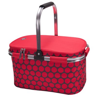 Igloo Party Basket with Pyrex 6 Piece Glassware Set, Red Polka Dot