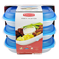 (Free Shipping) Rubbermaid 3-Pack Party Platters, Blue