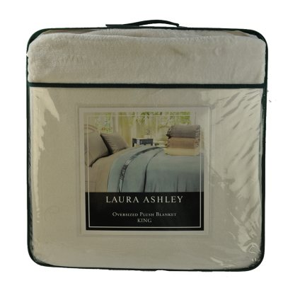 Laura Ashley Plush Blanket, Ivory King.  Ends: May 29, 2015 7:20:00 PM CDT