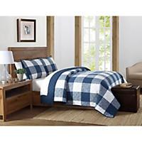 Brooklyn Loom 3-Piece Set Quilt and Pillow Shams, Navy (Queen)