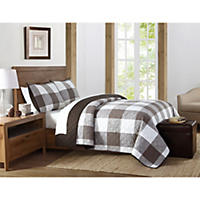 Brooklyn Loom 3-Piece Set Quilt and Pillow Shams, Brown (Queen)
