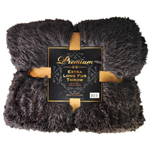 "Extra Long Fur Throw - 55"" x 70"" - Chocolate"