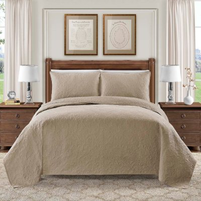 Hotel Luxury Reserve Collection Bellisima 3-Piece Quilt Set, Taupe (Queen)