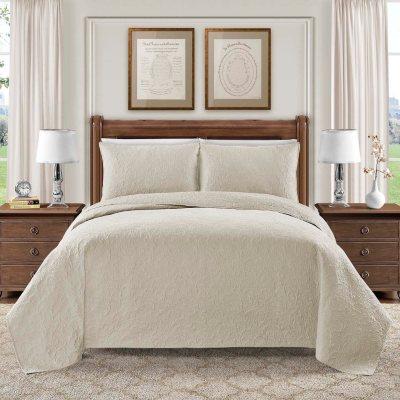 Hotel Luxury Reserve Collection Bellisima 3-Piece Quilt Set, Ivory (Queen).  Ends: Feb 8, 2016 5:35:00 AM CST