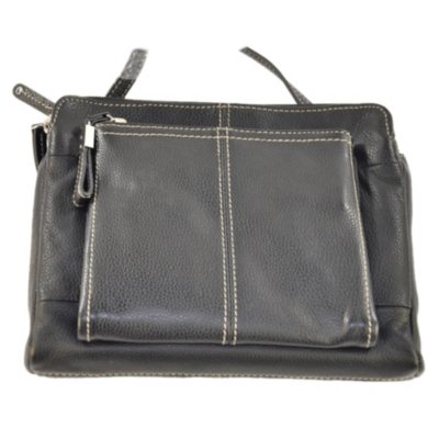 Tignanello  Leather Triple Compartment Crossbody, Black.  Ends: Oct 22, 2014 6:45:00 AM CDT