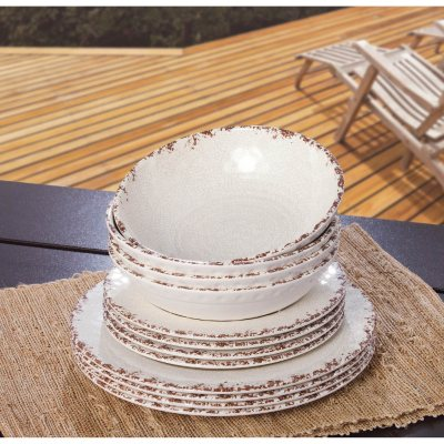 Melamine Dinnerware 12PC Set, Brown/Cream.  Ends: Jul 24, 2014 4:45:00 PM CDT