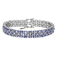 Tanzanite Three Row Bracelet in Sterling Silver