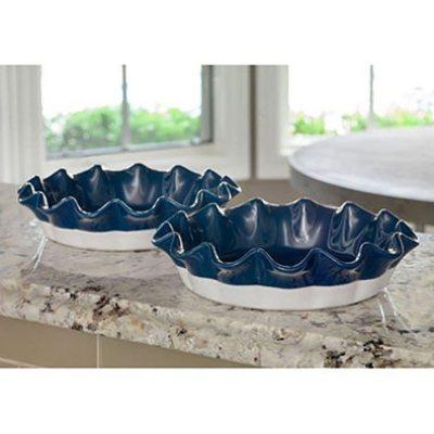 2-Piece Stoneware Pie Dish Set, Blue.  Ends: Feb 12, 2016 2:00:00 AM CST