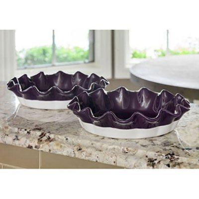 2-Piece Stoneware Pie Dish Set, Purple.  Ends: Feb 9, 2016 8:00:00 AM CST