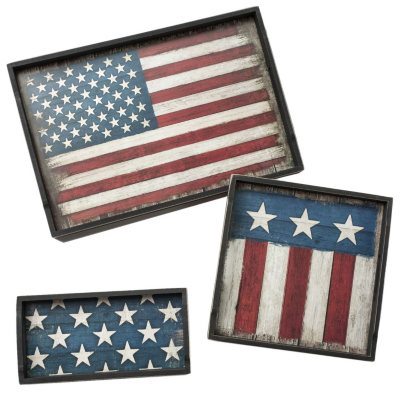 Highland 3-Piece Wood Tray Serving Set, American Flag.  Ends: Feb 8, 2016 9:10:00 PM CST