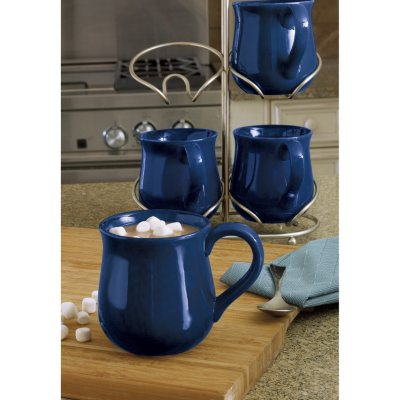 Fireside Mugs 4-Piece Set with Cradle, Blue.  Ends: Dec 18, 2014 10:45:00 PM CST
