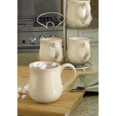 Fireside Mugs 4-Piece Set with Cradle, Cream.  Ends: Dec 22, 2014 7:25:00 PM CST