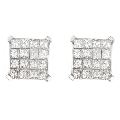 0.95 CT. TW. Princess Cut Diamond Earrings in 14K White Gold.  Ends: Mar 28, 2015 12:00:00 PM CDT
