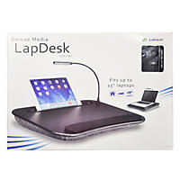 LapGear Deluxe Media LapDesk with Light, Black