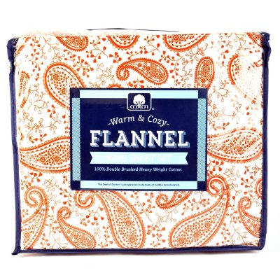 King-Sized Flannel Sheet Set, Orange Paisley.  Ends: Mar 8, 2014 12:06:00 AM CST