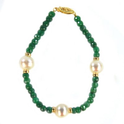 Emerald & Cultured Pearl Bracelet, Set in 14K Yellow Gold.  Ends: Aug 23, 2014 11:10:00 PM CDT
