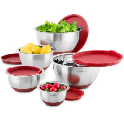 Wolfgang Puck 10-Piece Nonskid Stainless Steel Mixing Bowl Set, Red.  Ends: Jan 27, 2015 10:55:00 AM CST