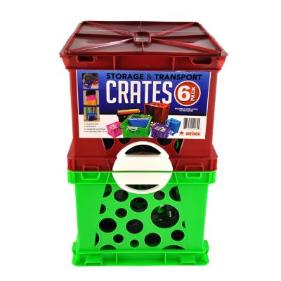 Storex Storage Crates, Green/Red (6-Pack Combo)