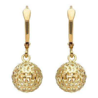 9.5 mm Pierced Bead Drop Earring in 14K Yellow Gold.  Ends: Mar 27, 2015 2:00:00 PM CDT