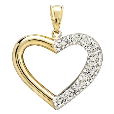 Love, Earth Genuine Swarovski Crystal Heart Pendant Set in Sterling Silver and 14K Yellow Gold