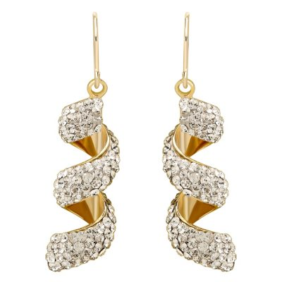 Love, Earth Genuine Swarovski Crystal Macaroni Twist Earrings, Set in Sterling Silver Bonded with 14K Gold.  Ends: Apr 18, 2015 5:00:00 PM CDT