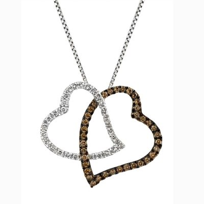 0.20 CT. TW. Champagne Diamond Heart Pendant in 14K White Gold.  Ends: Mar 28, 2015 7:00:00 AM CDT