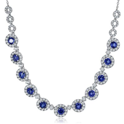 """Lab Created Blue and White Sapphire Necklace in Sterling Silver (18"""").  Ends: Jul 2, 2016 1:00:00 AM CDT"""