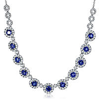 """Lab Created Blue and White Sapphire Necklace in Sterling Silver (18"""")"""
