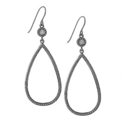 0.04 CT. T.W. Diamond Accent Large Beaded Tear Drop Earrings in Sterling Silver.  Ends: May 25, 2016 12:00:00 PM CDT