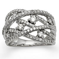 1.00 CT. T.W. Diamond Bypass Ring in 14K White Gold (H-I, I1), Size 7