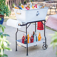 Giftburg Beverage Tub and Serving Cart, White