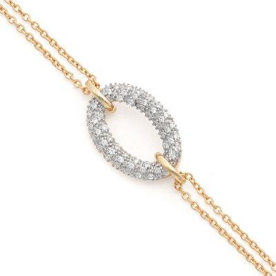 0.15 CT. T.W. Diamond Sideways Oval Bracelet in 14K Yellow Gold