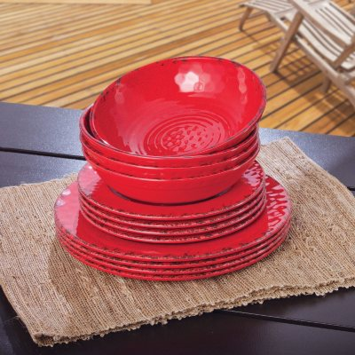 Melamine Dinnerware 12PC Set, Red.  Ends: Jul 22, 2014 11:25:00 PM CDT