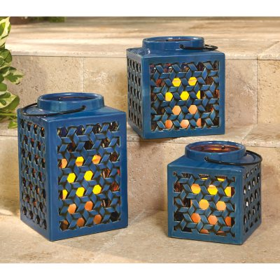Member's Mark Stoneware Lantern Set with Flameless Candles, Blue.  Ends: Aug 31, 2015 6:50:00 PM CDT