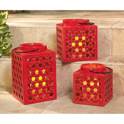 Member's Mark Stoneware Lantern Set with Flameless Candles, Red.  Ends: Sep 3, 2015 1:45:00 PM CDT