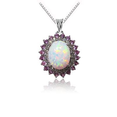 1.5 ct. Genuine Opal Pendant with Lab Created Pink and White Sapphire Accents.  Ends: Jun 29, 2016 1:00:00 AM CDT