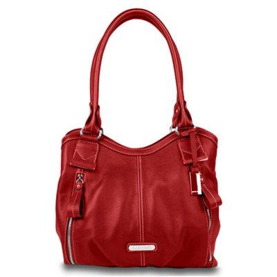 Ellen Tracy Leather Satchel Handbag - Kyla - Scarlet.  Ends: Oct 30, 2014 1:12:00 PM CDT